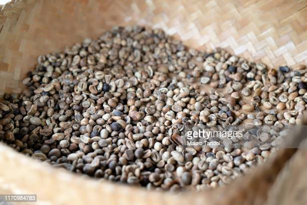 coffee beans in a basket - mauro tandoi stock photos and pictures
