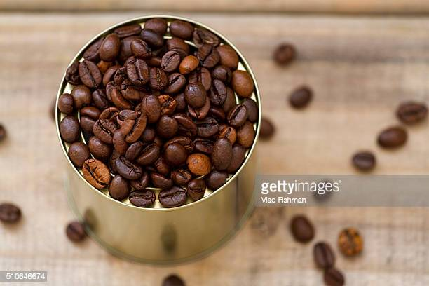 Coffee beans in a tin can