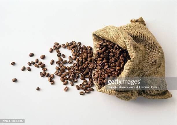 Coffee beans in and spilling out of burlap sack