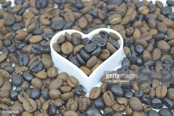 Coffee beans in heart shaped