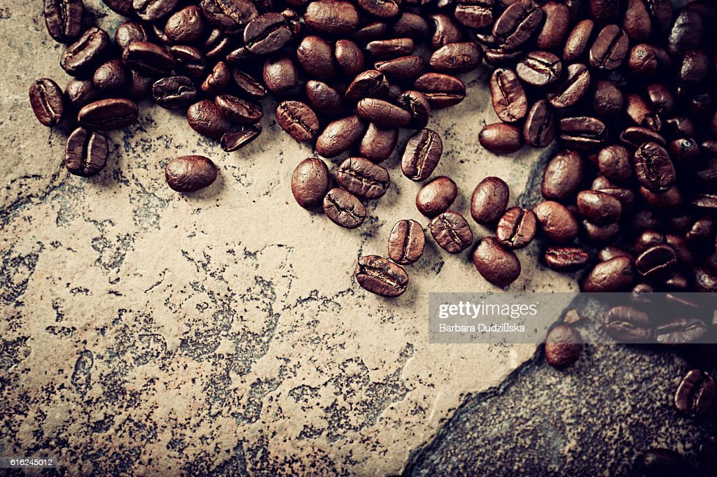 Coffee beans on a rustic stone background : Stock-Foto