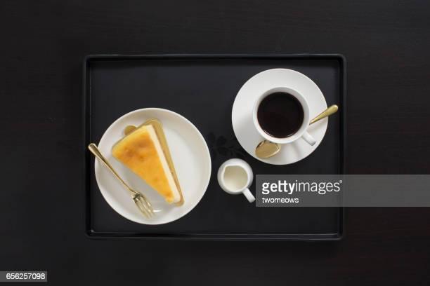 Coffee break food and drink.