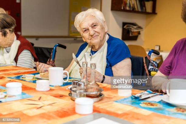 coffee break for seniors in the retirement home - residential care stock photos and pictures
