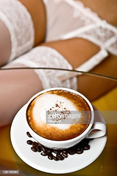 coffee break in lingerie - seamed stockings stock photos and pictures