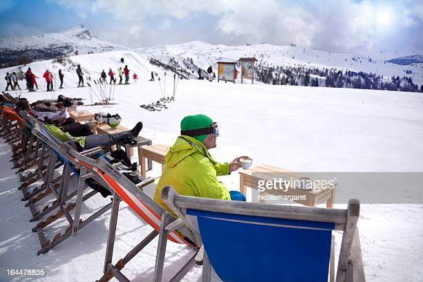 Coffee break on a skiing holiday