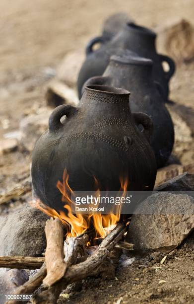 Coffee brews over fires during a wedding celebration in the Hamar tribe village of Unga Bayno The dancing feasting and drinking take place in...