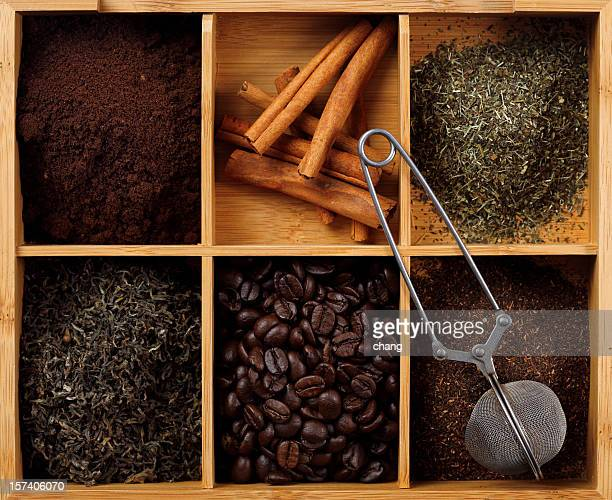 coffee, cinnamon and tea