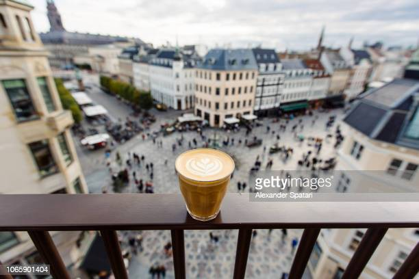 coffee cup and copenhagen skyline, denmark - danish culture stock pictures, royalty-free photos & images