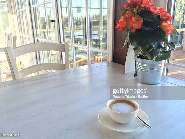 Coffee Cup And Flower Pot On Table By Window In Office