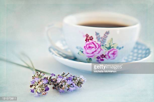 Coffee cup and lavender