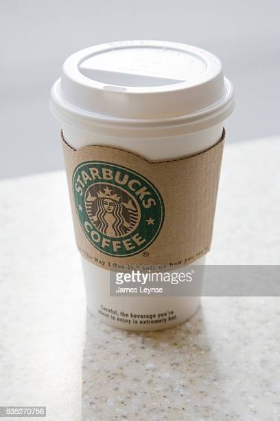 A coffee cup on a counter at a Starbucks coffee shop on the Upper West Side of Manhattan Starbucks was offering free coffee to its New York customers...