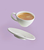 coffee cup on purple background