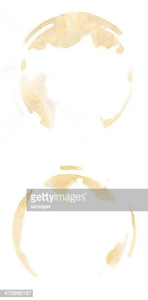 2 coffee cup stains - stain test stock pictures, royalty-free photos & images