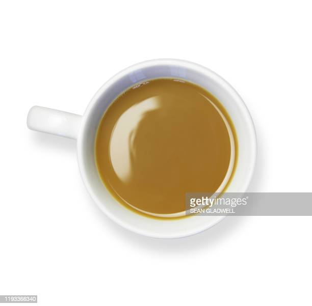 coffee cup white background - looking down stock pictures, royalty-free photos & images