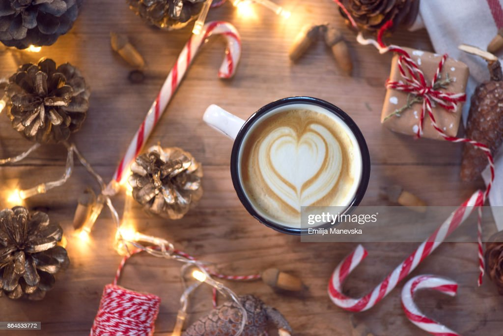 Coffee Christmas Ornaments.Coffee Cup With Christmas Ornaments And Decoration On Wooden