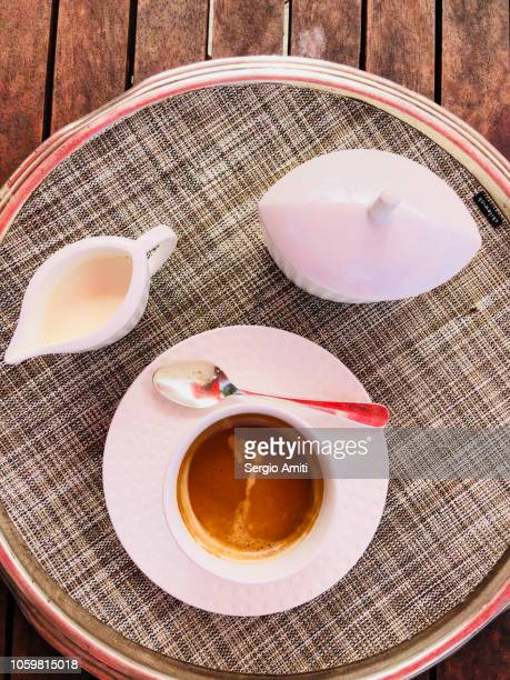 coffee cup with milk jug and sugar bowl - sugar bowl crockery stock photos and pictures