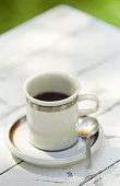 coffee cup with spoon table