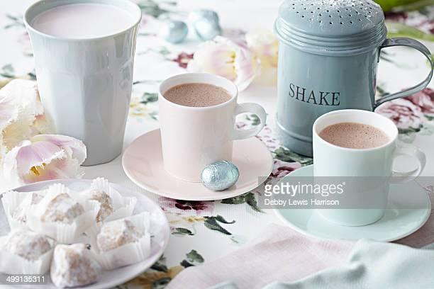 Coffee cups and sweet treats