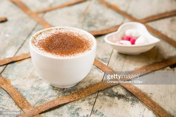 coffee drink in white mug for valentine morning - coffee drink stock pictures, royalty-free photos & images