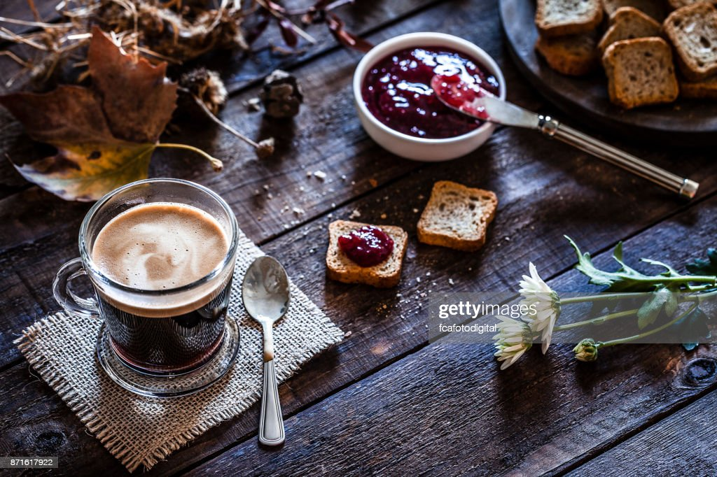 Coffee drink on garden table : Stock Photo