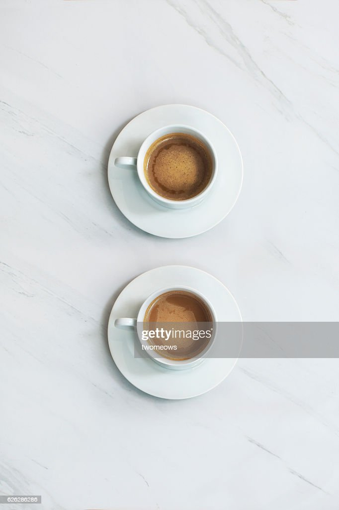 Coffee drink on marble table top. : Stock Photo