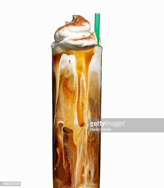 coffee drink with whipped cream in tall glass - coffee drink stock pictures, royalty-free photos & images