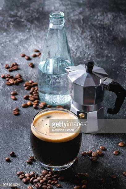 Coffee espresso with sparkling water