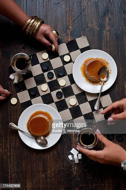 coffee flan - game board stock photos and pictures