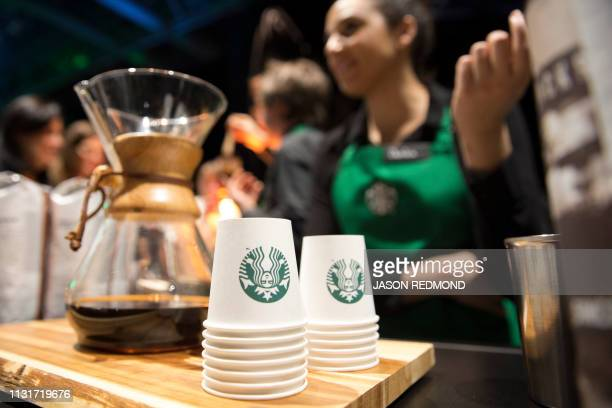 Coffee from a Chemex Coffeemaker is offered at the Annual Meeting of Shareholders in Seattle Washington on March 20 2019