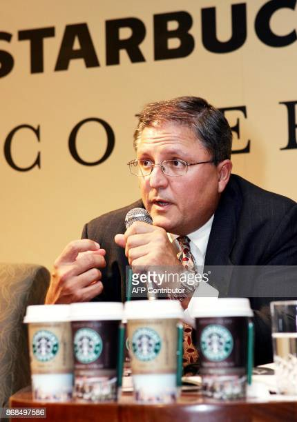 US coffee giant Starbucks senior vice president Gerardo Lopez speaks during the introduction of chilled packaged coffee drinks called Starbucks...