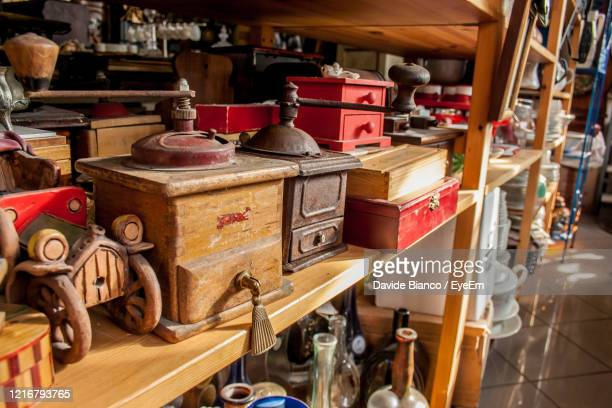 coffee grinder collection - flea market stock pictures, royalty-free photos & images