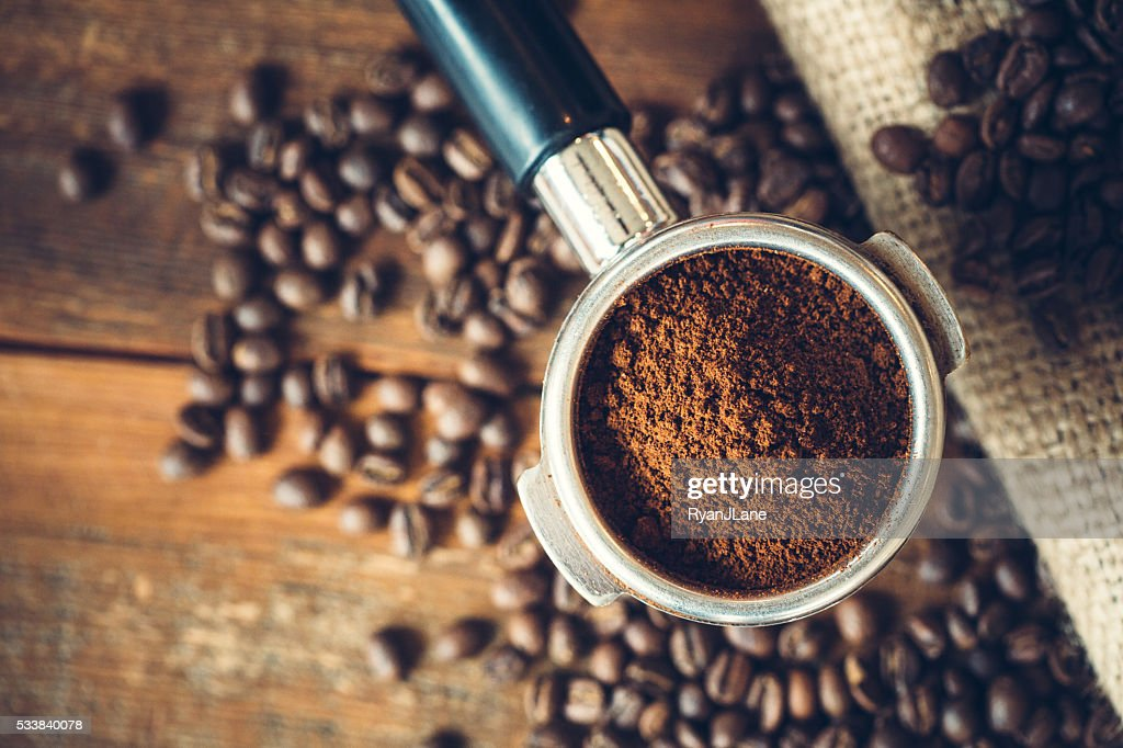 Coffee Ground in Portafilter for Espresso : Stock Photo