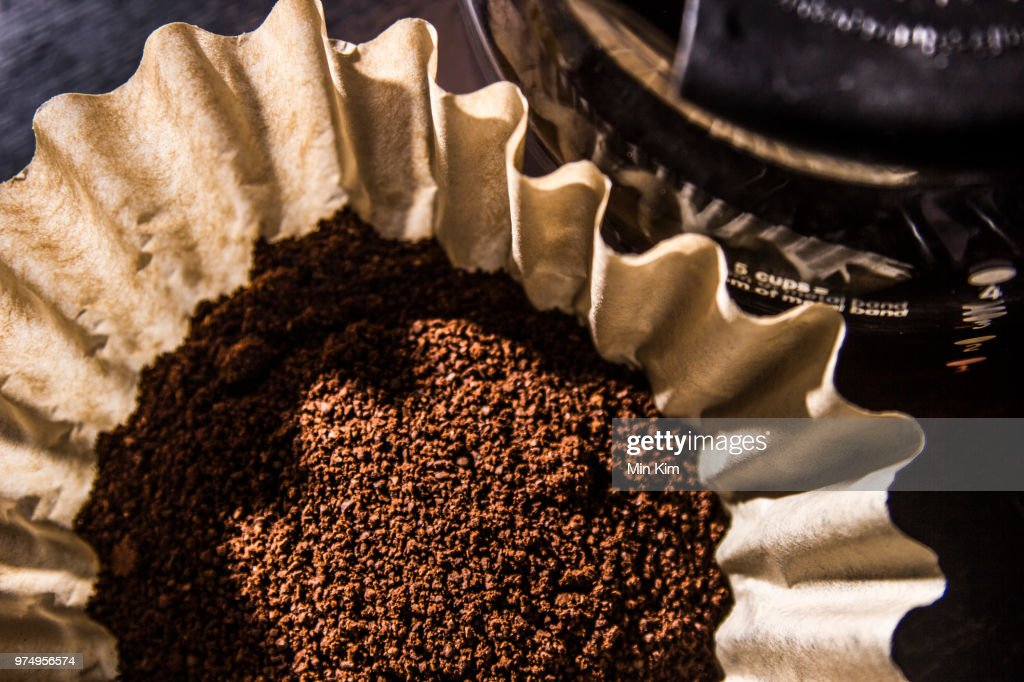 Coffee grounds in dripper, Java : Stock Photo
