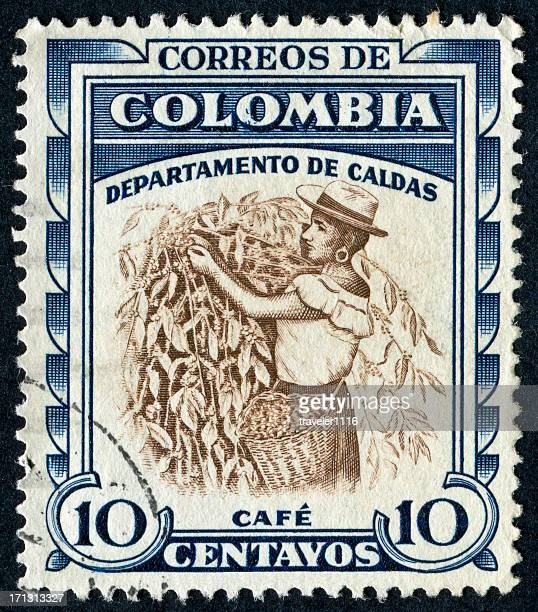 coffee harvesting stamp - postage stamp stock pictures, royalty-free photos & images