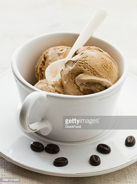 Coffee ice cream in a cup
