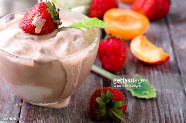 coffee ice cream in a glass - strawberry milkshake and nobody stock pictures, royalty-free photos & images