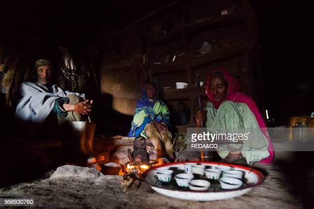 Coffee in a traditional Tukul of a peasant in the Ethiopian highlands in the Simien Mountains National Park Africa East Africa Ethiopia
