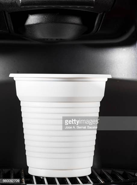 Coffee machine, express with a glass of plastic