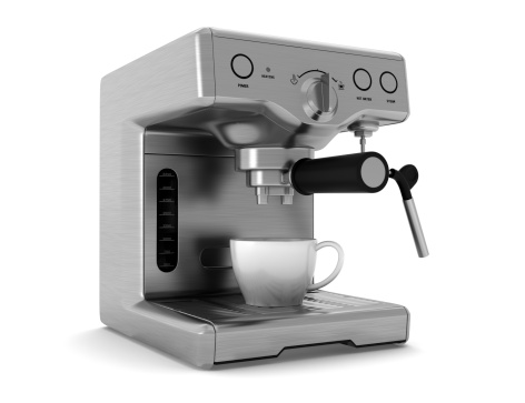 coffee machine isolated on white background with clipping path 158794138