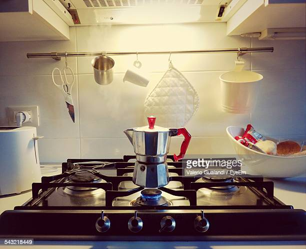 Coffee Maker On Gas In Kitchen