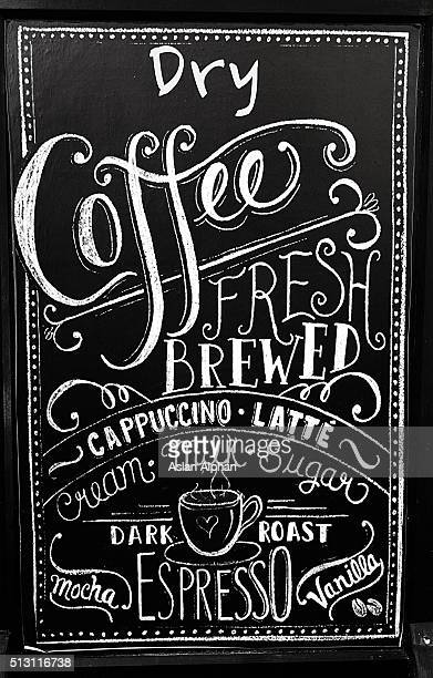 coffee menu on blackboard - menu stock pictures, royalty-free photos & images