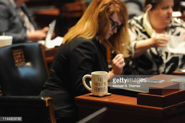 A coffee mug sits on the desk of State Rep Keri Ingle at the Missouri State Capitol Building on May 17 2019 in Jefferson City Missouri Tension and...