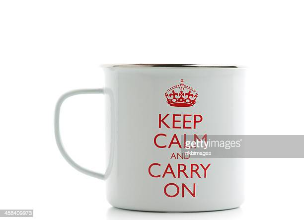 コーヒー、マグ、イギリスの「keep calm and carry on