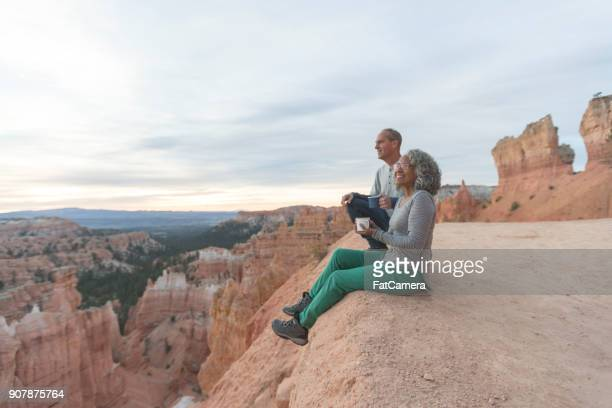coffee on a cliff - baby boomer stock pictures, royalty-free photos & images