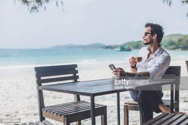 Coffee on the beach alone