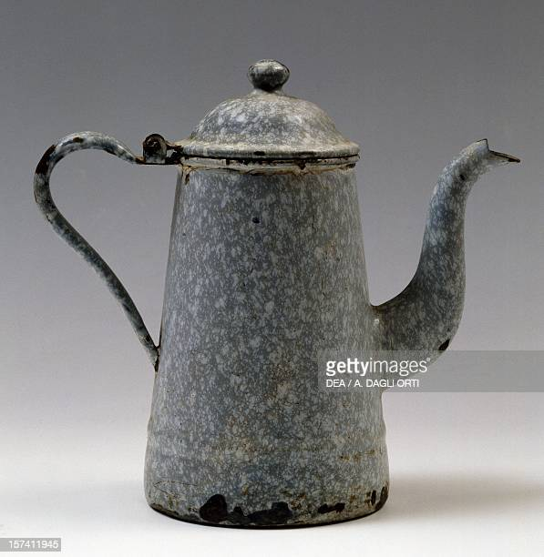 Coffee pot 19101912 enamelled iron Piedmont Italy 20th century