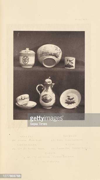 Coffee pot, sugar pot, cups and saucers; William Chaffers ; London, England, Europe; 1871; Woodburytype; 11.5 x 9.2 cm .