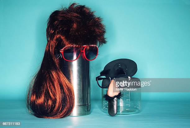 Coffee Pot Wearing Wig and Sunglasses