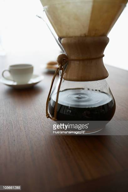 Coffee pot with filter, close up