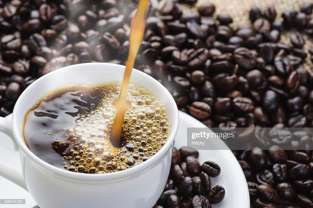 coffee pouring to cup : Stock Photo